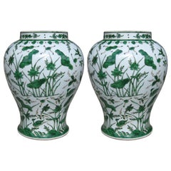 Pair of 18th-19th Century Chinese Green and White Porcelain Vases, Lotus Flowers