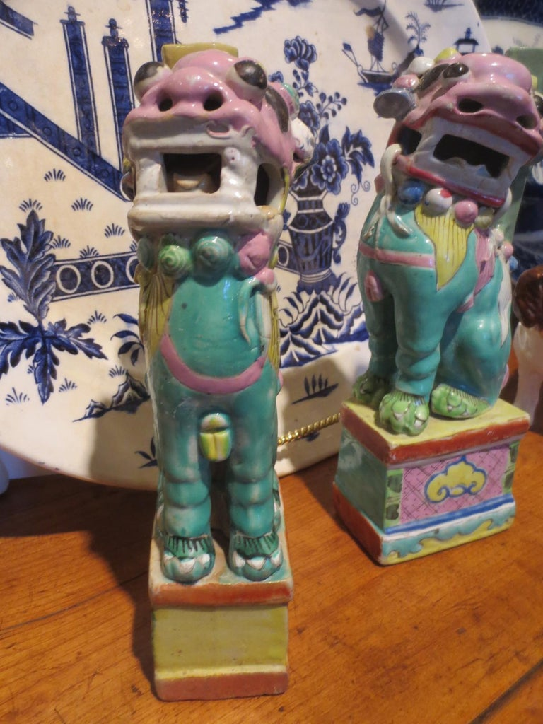 18th Century and Earlier Pair of 18th-19th Century Chinese Hand Painted Polychrome Porcelain Foo Dogs For Sale