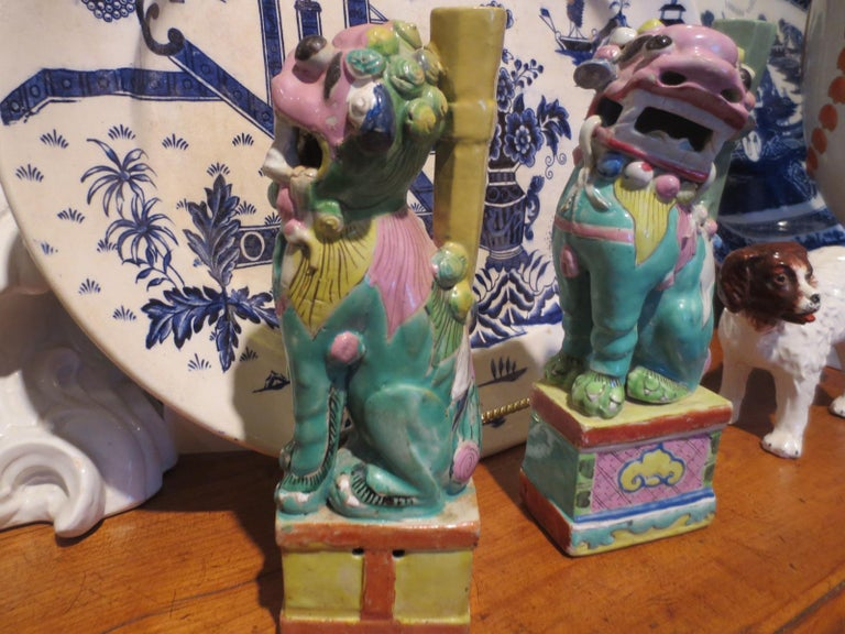 Pair of 18th-19th Century Chinese Hand Painted Polychrome Porcelain Foo Dogs For Sale 1