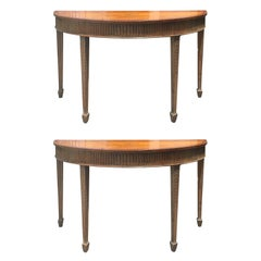 Pair of 18th-19th Century English Demilune Consoles