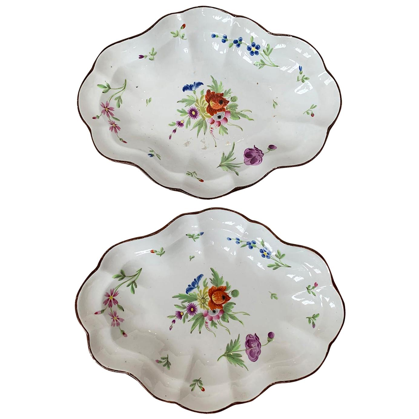 Pair of 18th-19th Century Faience Floral Serving Platers, Marked Pattern # 582