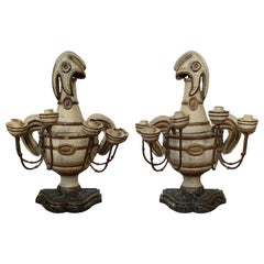 Pair of 18th-19th Century French Painted Four-Arm Candelabras, Faux Marble Bases