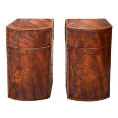 Pair of 18th-19th Century George III Regency Inlaid Burl Walnut Knife Boxes