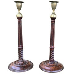 Pair of 18th-19th Century George III Style Antique Brass-Mounted Candlesticks
