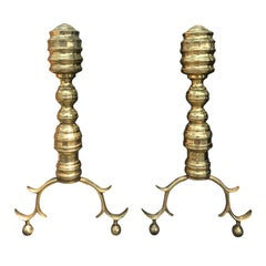 Pair of 18th-19th Century Georgian Style Brass Andirons
