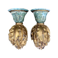 Pair of 18th-19th Century Giltwood Flame Brackets or Finials