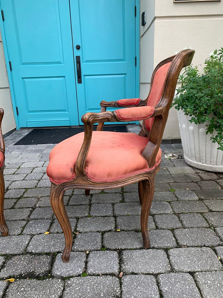 Wood Pair of 18th-19th Century Italian Armchairs For Sale