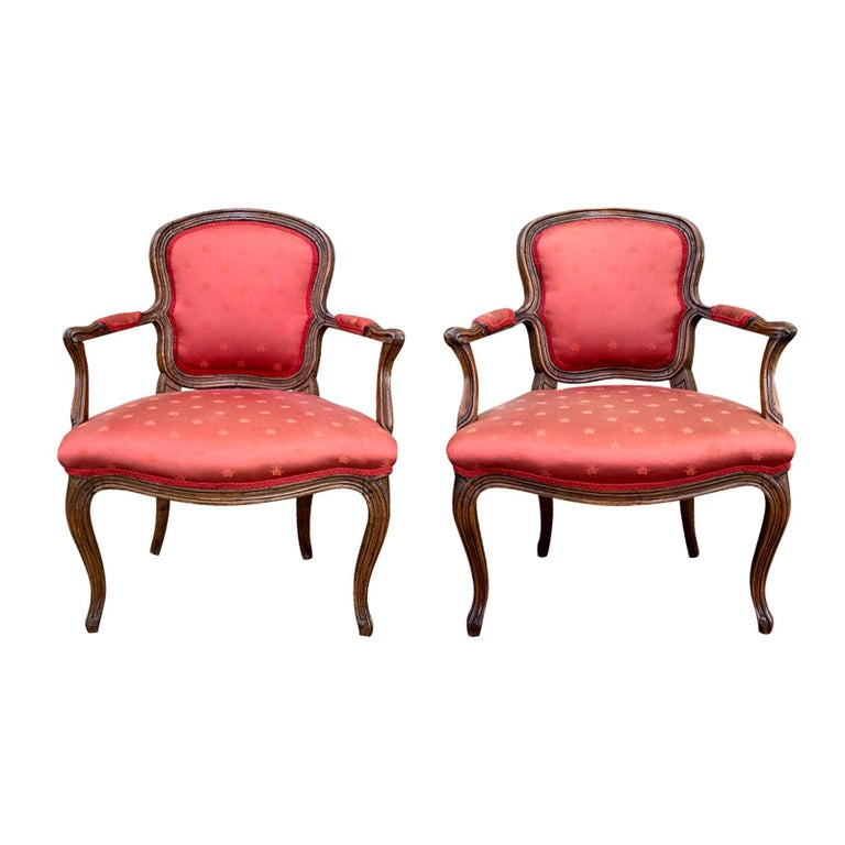 Pair of 18th-19th Century Italian Armchairs For Sale