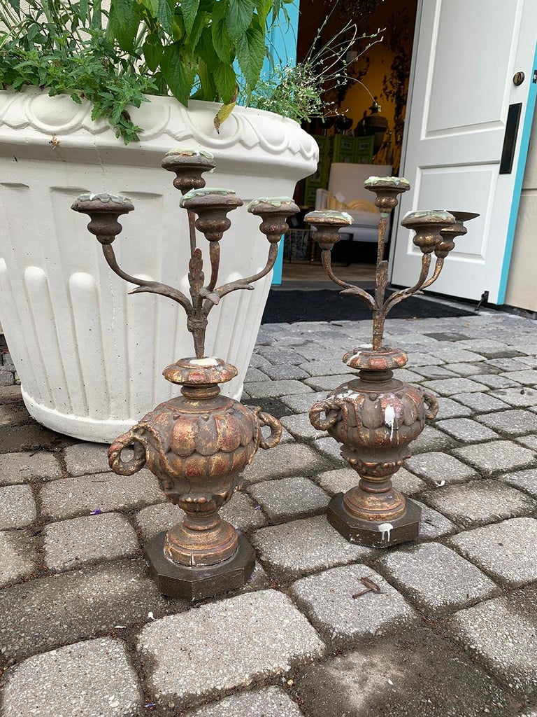 Pair of 18th-19th century Italian candelabras.