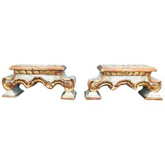Pair of 18th-19th Century Italian Gilt and White Fragments as Candleholders