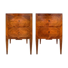 Pair of 19th Century Italian Neoclassical Inlaid Commodes