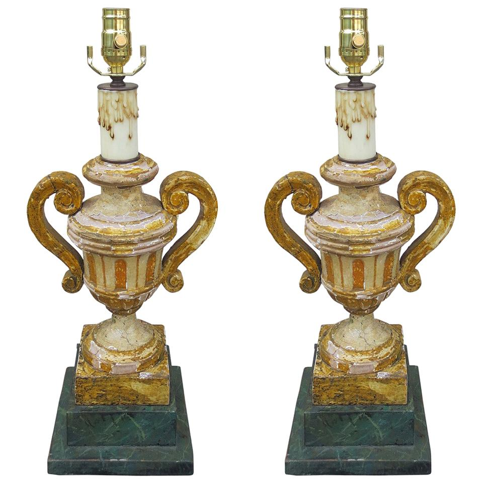 Pair of 18th-19th Century Italian Painted Urns as Lamps