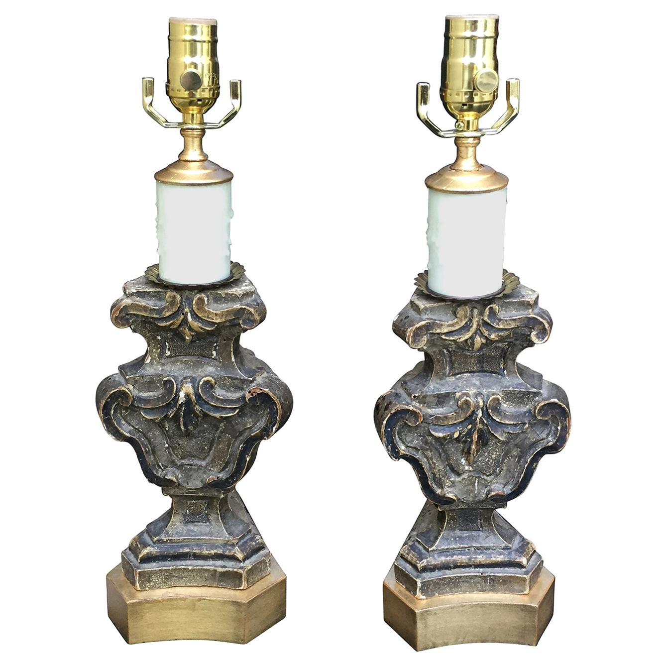 Pair of 18th-19th Century Italian Prickets as Lamps on Custom Giltwood Bases