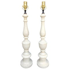 Pair of 18th-19th Century Italian Prickets as Lamps, White Finish