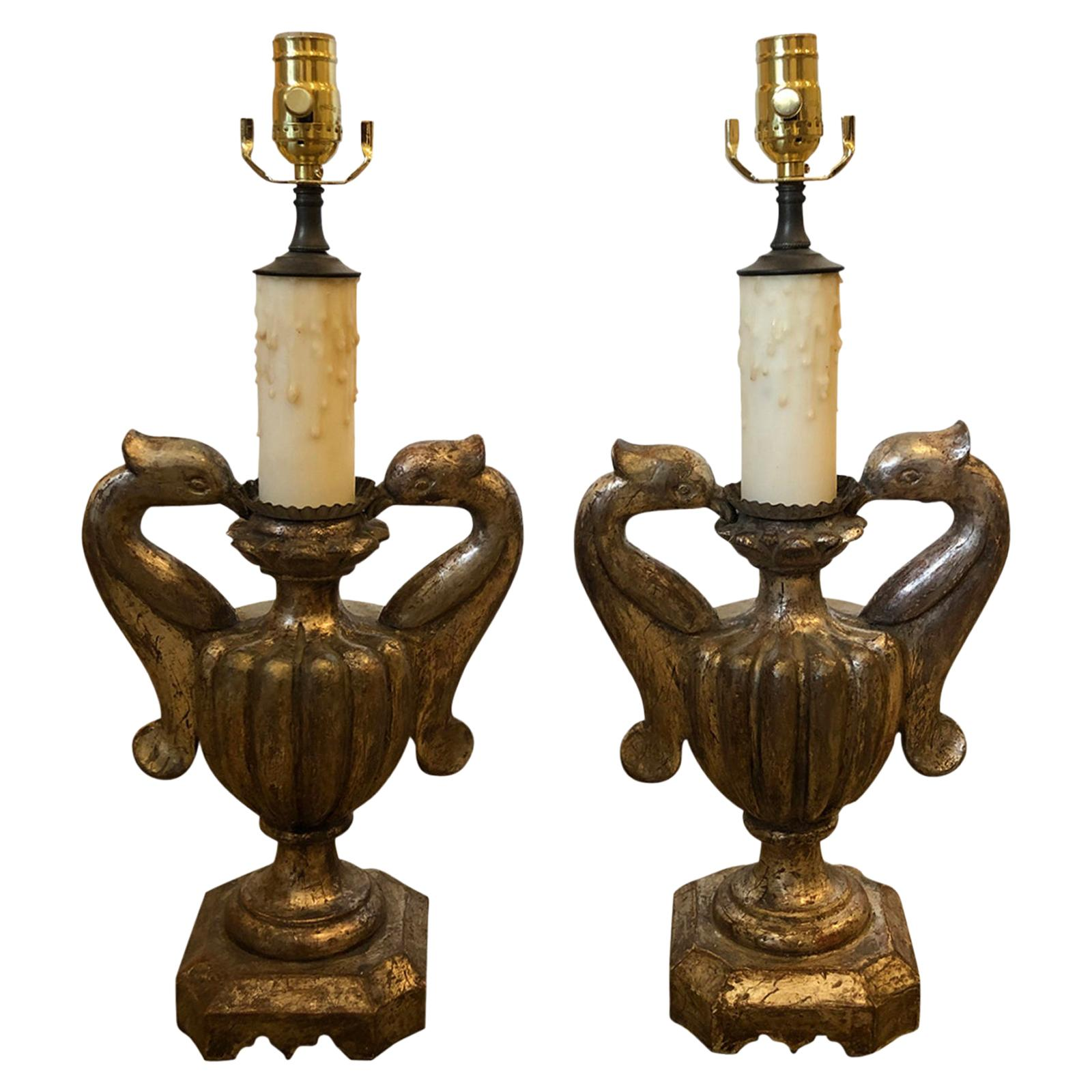 Pair of 18th-19th Century Italian Silver Gilt Urns as Lamps