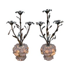 Pair of 18th-19th Century Italian Wood and Iron Candelabras with Old Elements