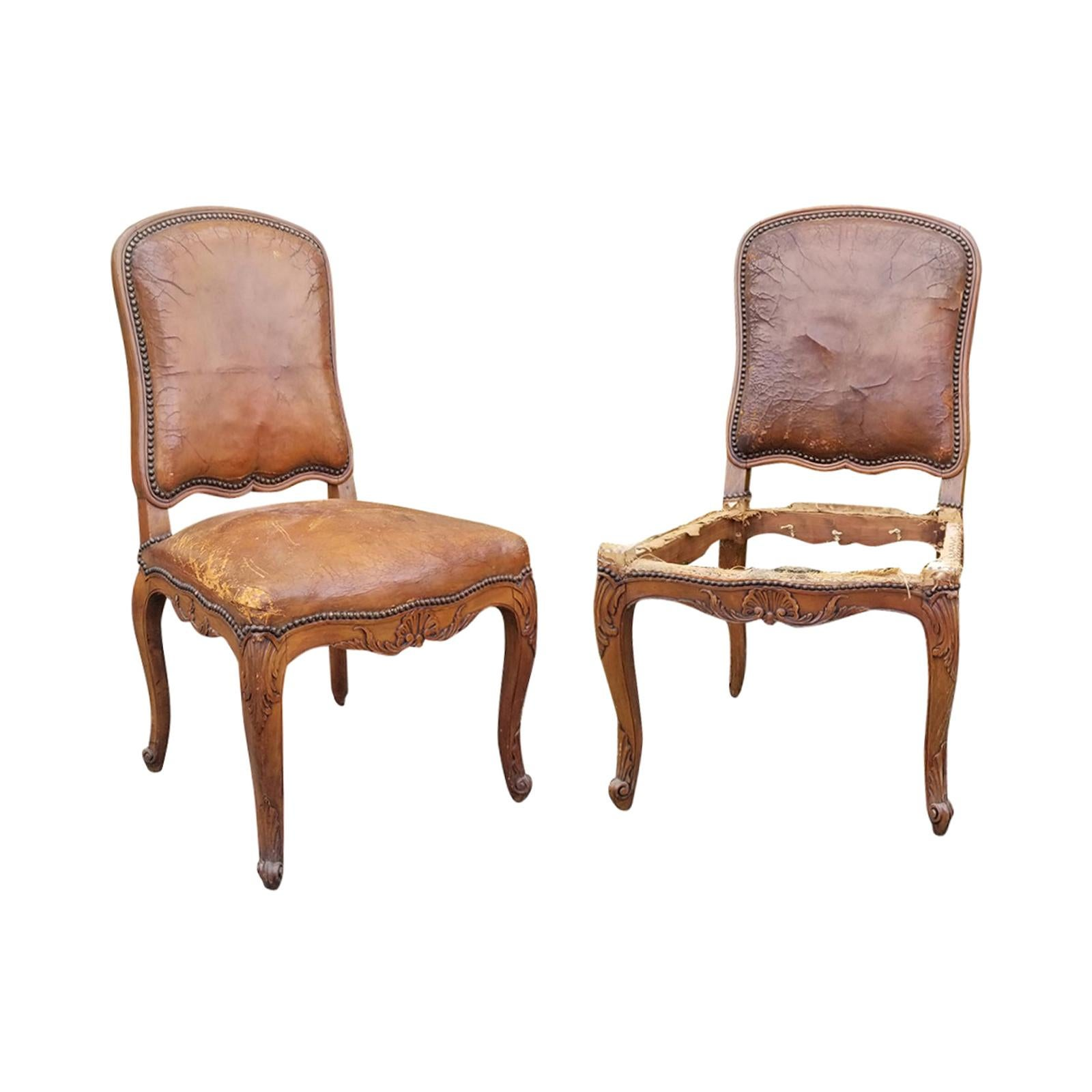 Pair of 18th-19th Century Provincial Louis XV Fruitwood Side Chairs
