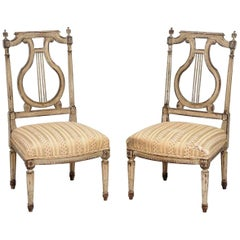 "Pair of 18th Century French ""Chauffeuse"" Chairs, Georges Jacob Attributed"