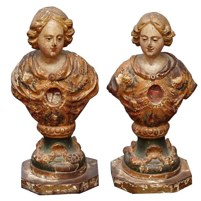 PAIR OF 18TH C ITALIAN  RELIQUARY For Sale