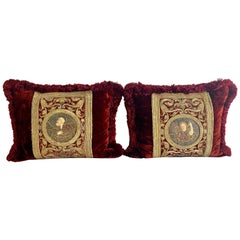 Pair of 18th Century Metallic Embroidered Red Velvet Pillows