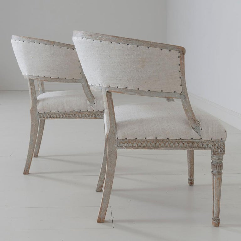 Pair of 18th c. Swedish Gustavian Period Original Paint Sulla Chairs - Set 1 For Sale 7
