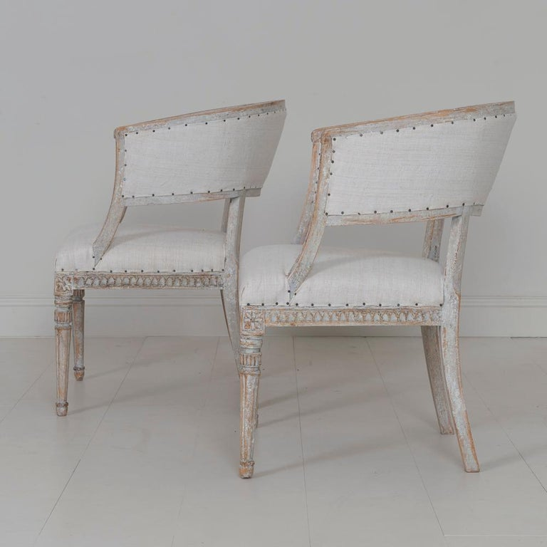 Pair of 18th c. Swedish Gustavian Period Original Paint Sulla Chairs - Set 1 For Sale 8