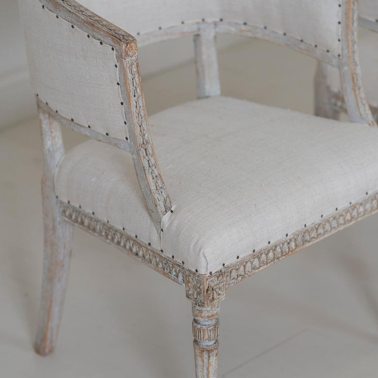 18th Century and Earlier Pair of 18th c. Swedish Gustavian Period Original Paint Sulla Chairs - Set 1 For Sale