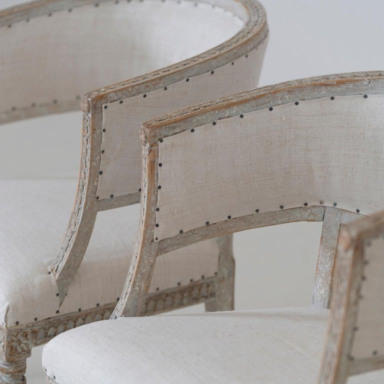 Pair of 18th c. Swedish Gustavian Period Original Paint Sulla Chairs - Set 1 For Sale 3