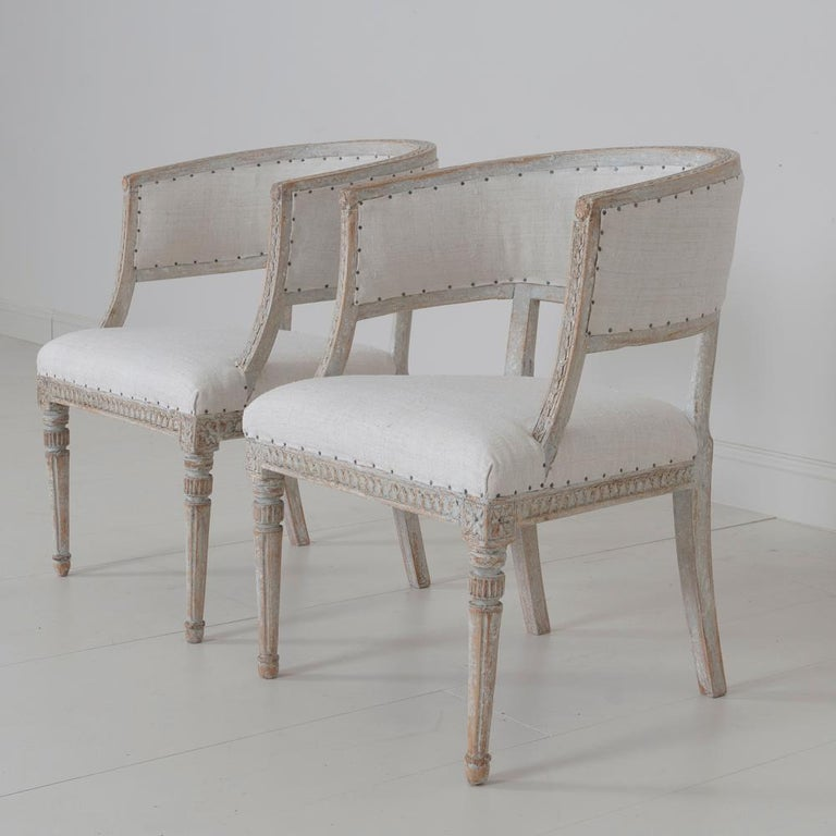 Pair of 18th c. Swedish Gustavian Period Original Paint Sulla Chairs - Set 1 For Sale 5
