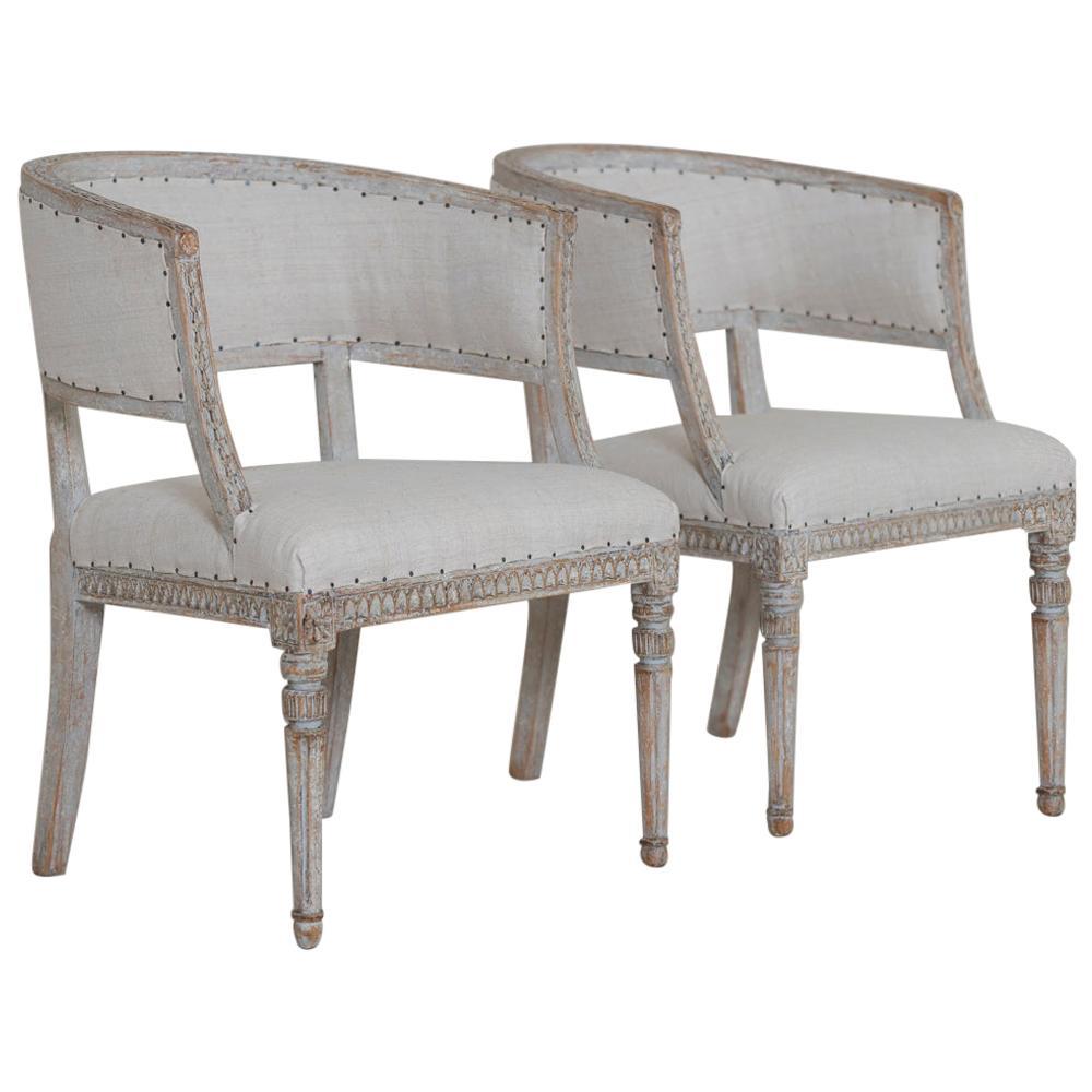 Pair of 18th c. Swedish Gustavian Period Original Paint Sulla Chairs - Set 1