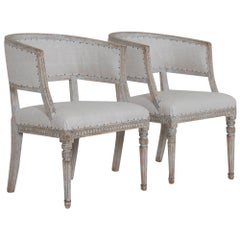 Pair of 18th Century Swedish Gustavian Period Sulla Chairs - Set 1