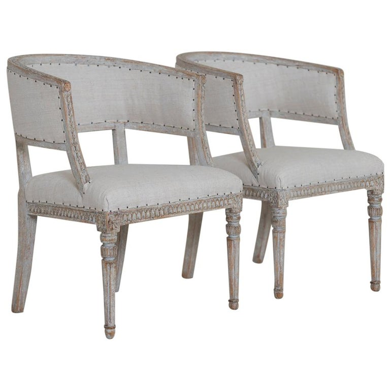 Pair of 18th c. Swedish Gustavian Period Original Paint Sulla Chairs - Set 1 For Sale