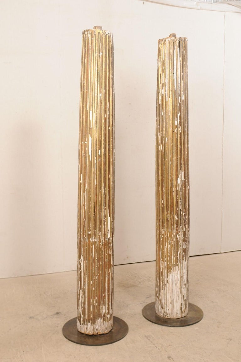 18th Century and Earlier Pair of 18th Century Fluted and Gilded Wood Columns For Sale