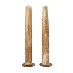 An 18th Century Pair of Italian 7 Ft Tall Fluted & Gilded Wood Columns on Bases