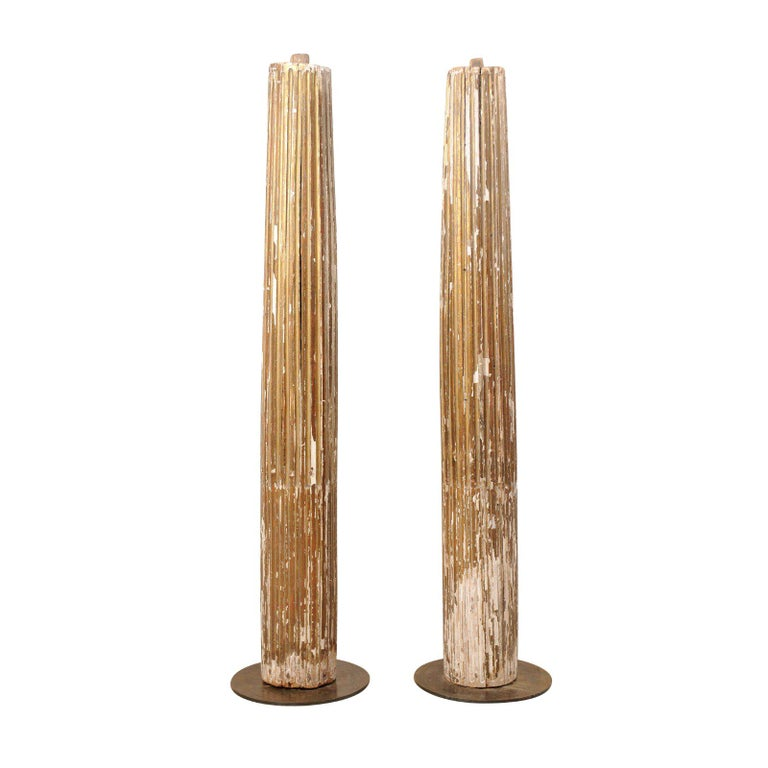 Pair of 18th Century Fluted and Gilded Wood Columns For Sale