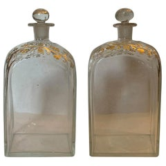 Pair of 18th Century American Glass Decanters with Gilt Details