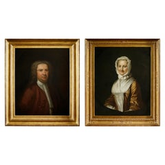 Pair of 18th Century American Portraits in Giltwood Frames