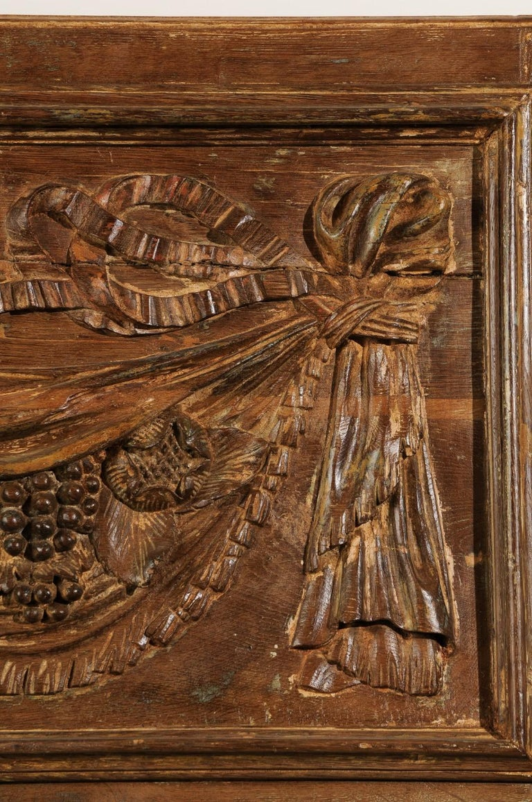 Pair of 18th Century Architectural Panels with Swags Hand Carved in Low-Relief For Sale 5