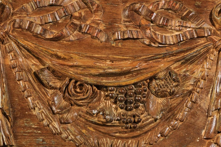 Pair of 18th Century Architectural Panels with Swags Hand Carved in Low-Relief For Sale 6