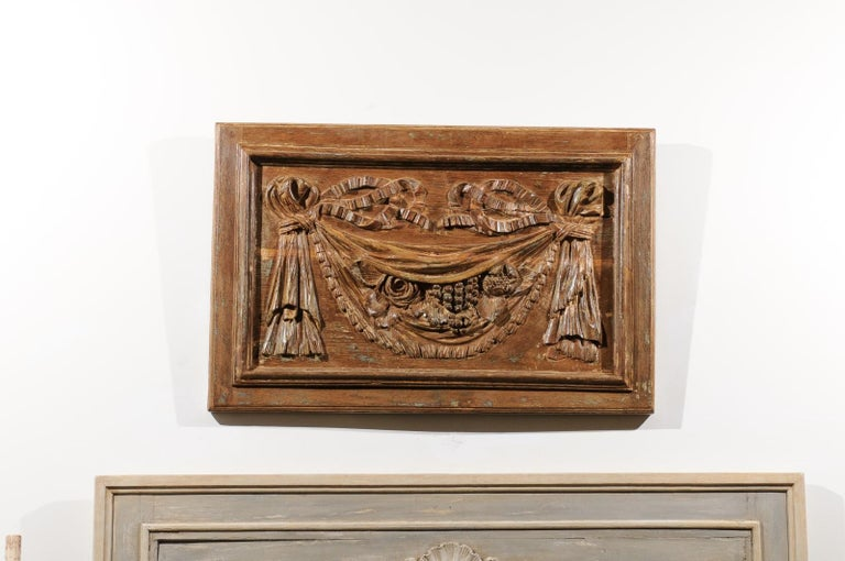 French Pair of 18th Century Architectural Panels with Swags Hand Carved in Low-Relief For Sale