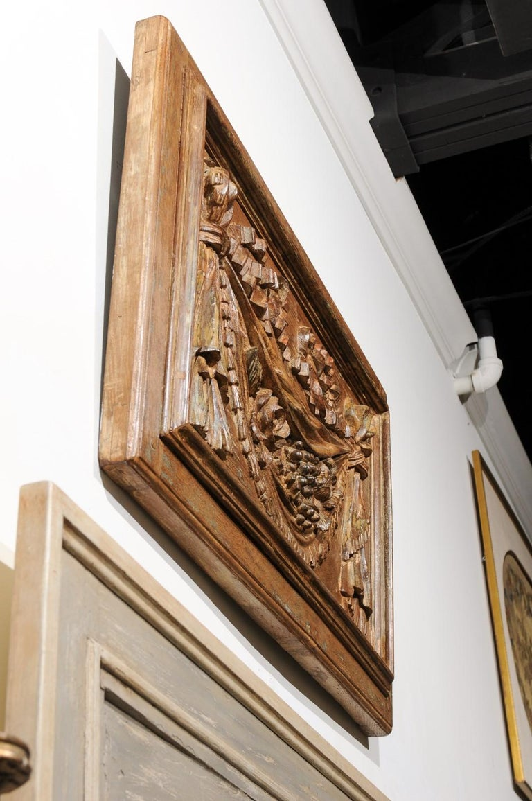18th Century and Earlier Pair of 18th Century Architectural Panels with Swags Hand Carved in Low-Relief For Sale