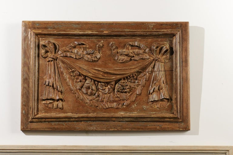 Wood Pair of 18th Century Architectural Panels with Swags Hand Carved in Low-Relief For Sale