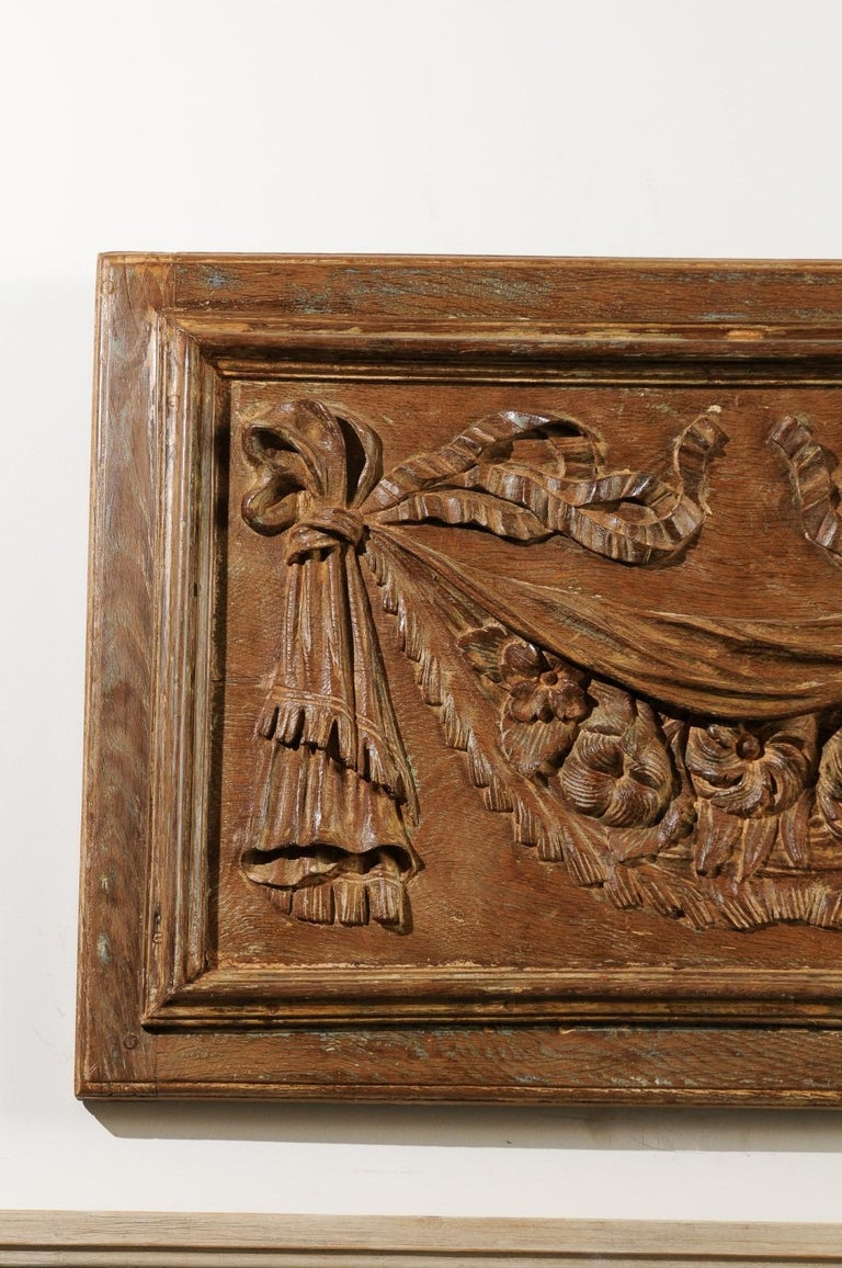 Pair of 18th Century Architectural Panels with Swags Hand Carved in Low-Relief For Sale 1