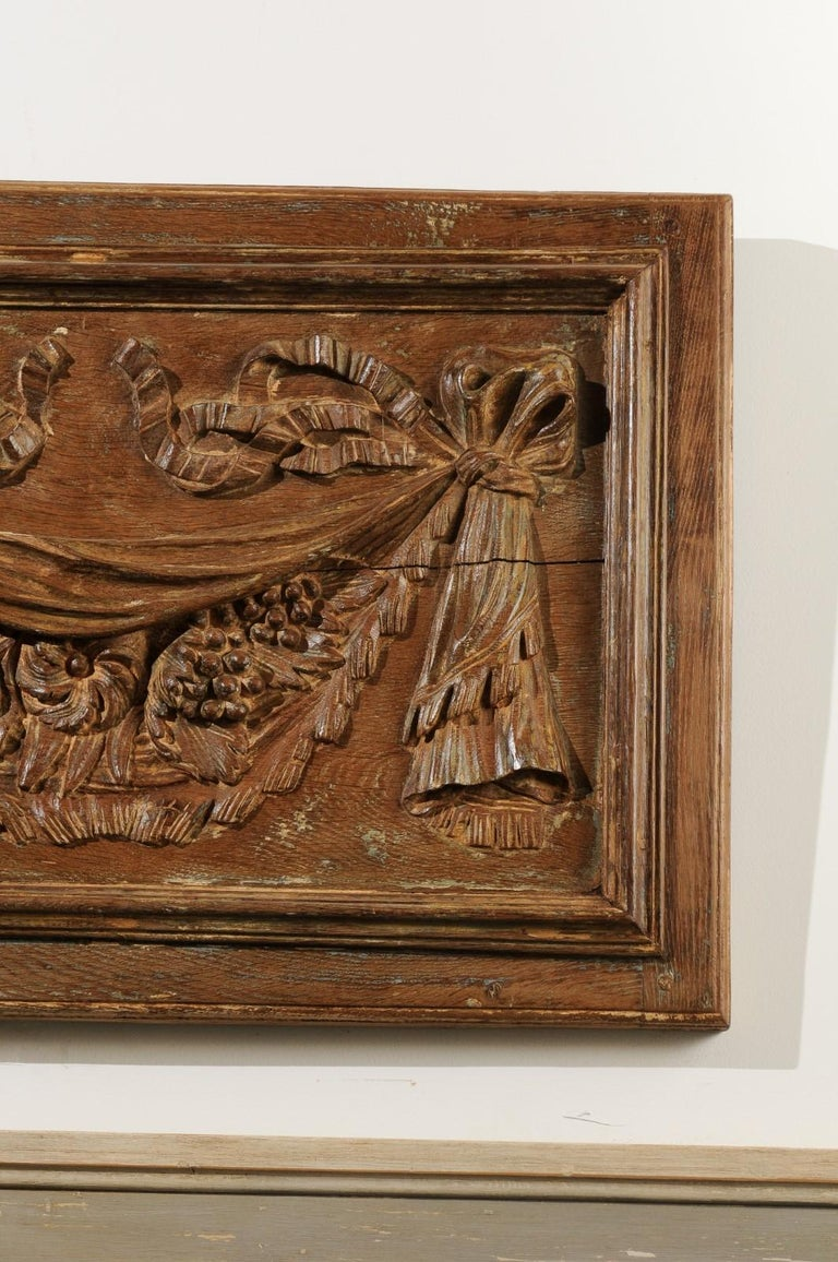 Pair of 18th Century Architectural Panels with Swags Hand Carved in Low-Relief For Sale 2