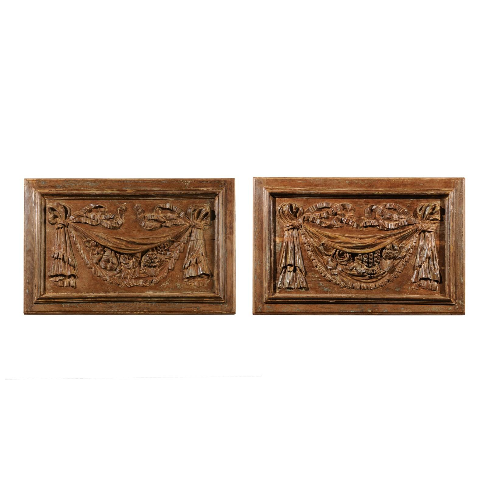 Pair of 18th Century Architectural Panels with Swags Hand Carved in Low-Relief