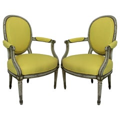Pair of 18th Century Armchairs in Lemon Linen