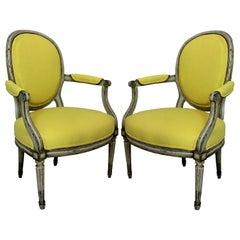 Pair of 18th Century Armchairs in Lemon Linen