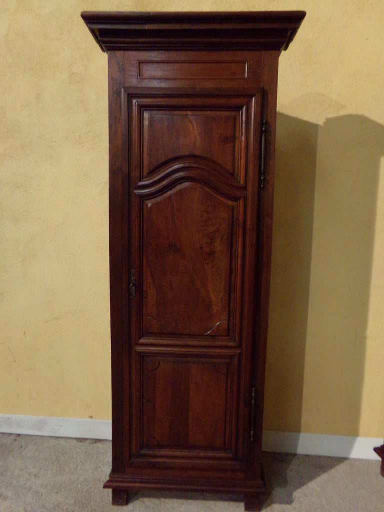 French Pair of 18th Century Armoire Corner Cupboards in Walnut For Sale