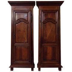 Pair of 18th Century Armoire Corner Cupboards in Walnut