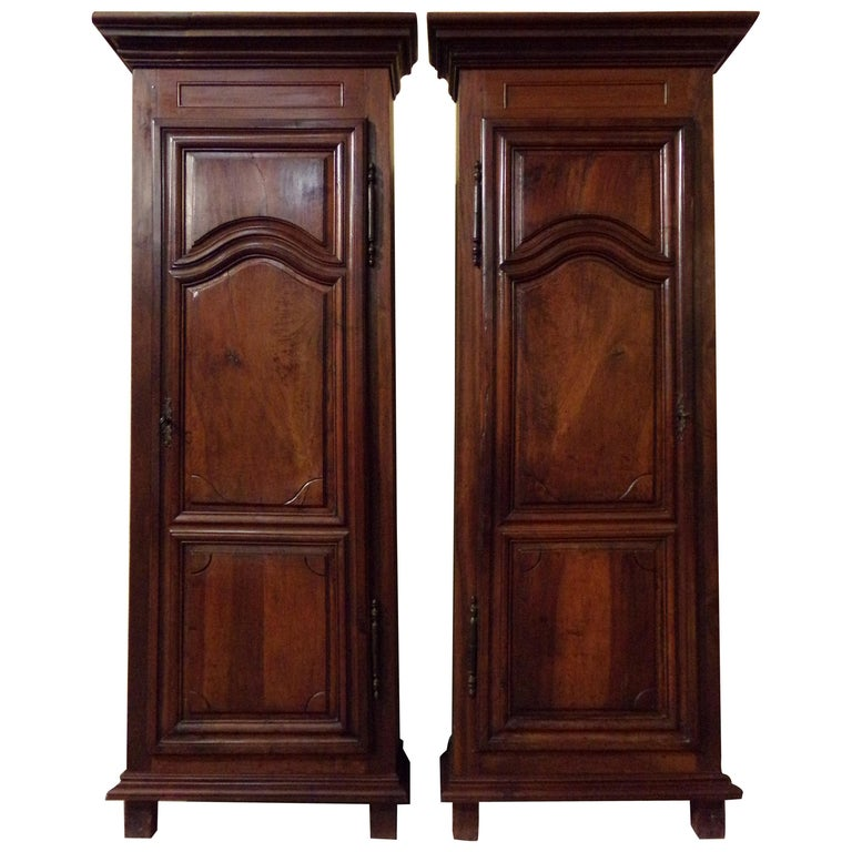 Pair of 18th Century Armoire Corner Cupboards in Walnut For Sale